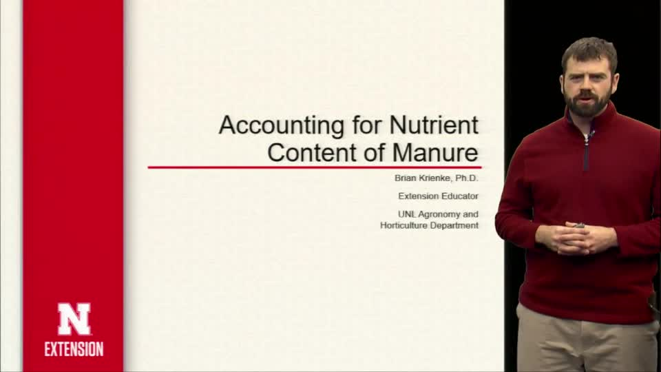 Accounting for Nutrient  Content of Manure