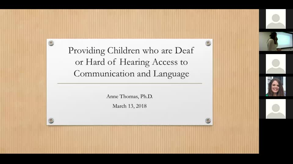 Providing Children who are DHH Access to Language