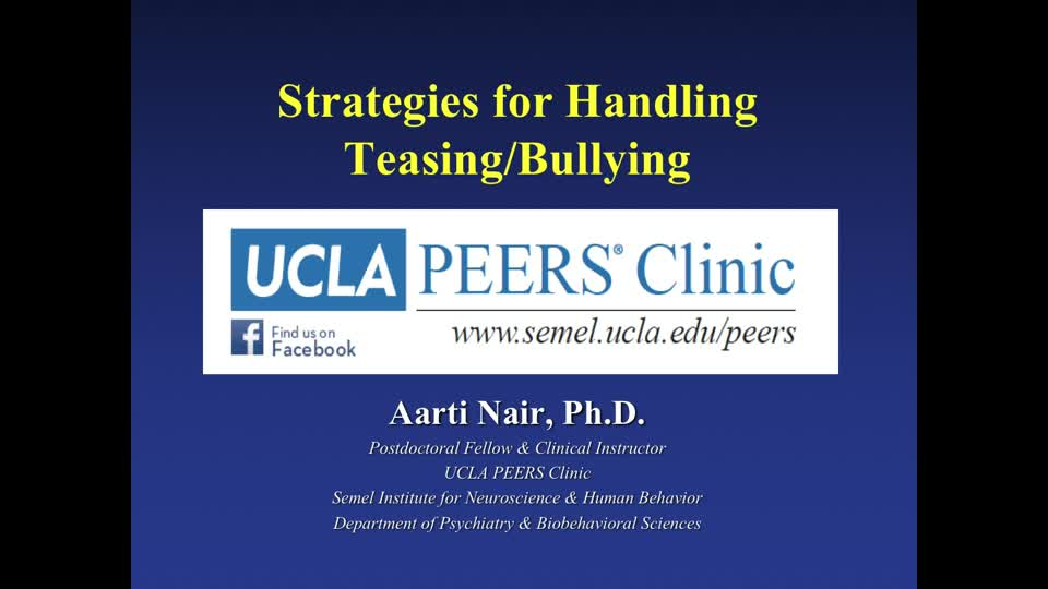 PEERS® Part 2: Strategies for Handling Teasing/Bullying