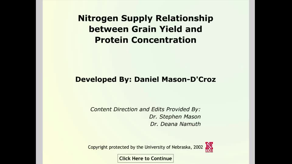 Nitrogen Supply Relationship between Grain Yield and Protein Concentration