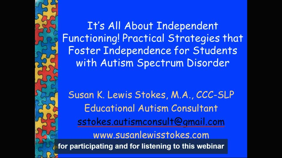 tioning! Practical Strategies that Foster Independence for Students with Autism Spectrum Disorder