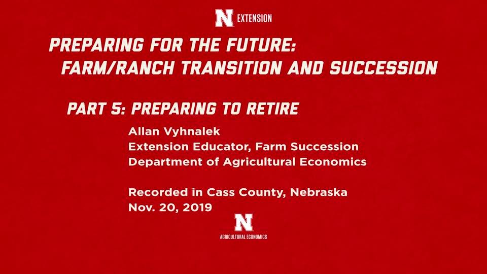 Farm Succession Workshop - 05/12 Preparing for Retirement