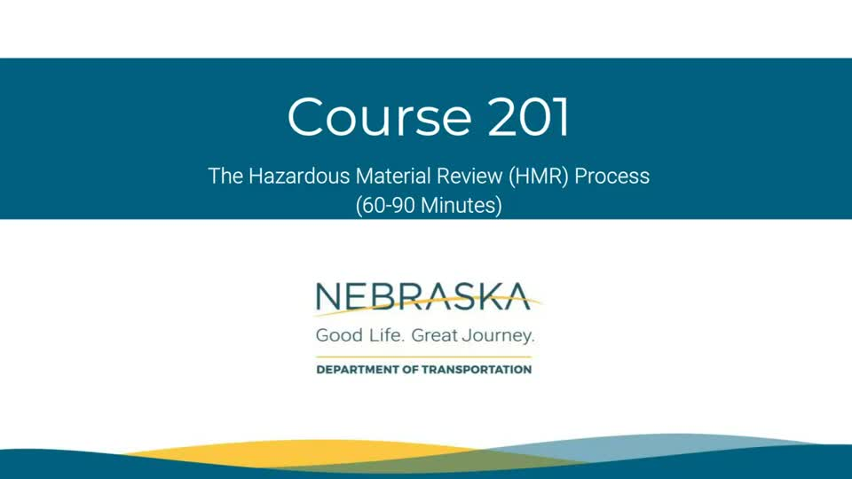 NDOT Hazardous Materials Review 201: Section 1