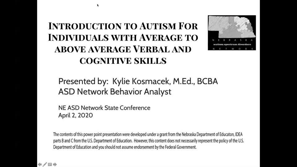 Introduction to Autism for Individuals with Average to Above Average Verbal and Cognitive skills