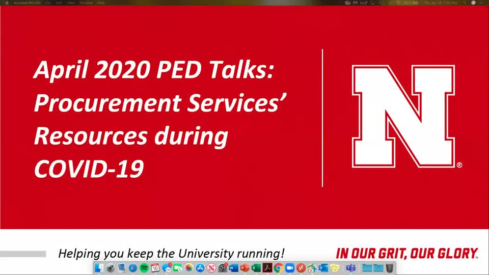 PED Talks April 2020