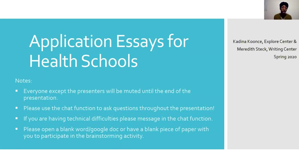Explore Center Essays for Health School Applications workshop