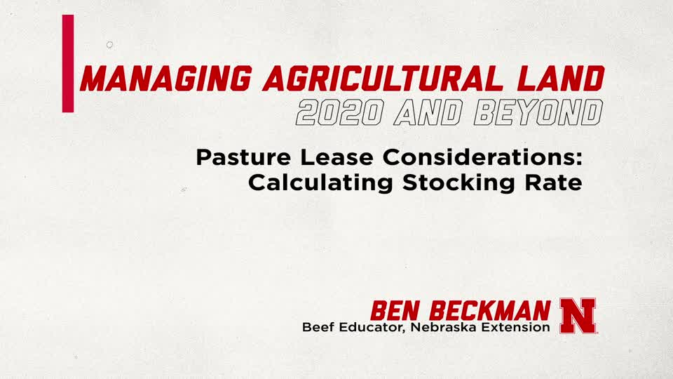 Pasture Leasing Considerations: Calculating Stocking Rate (Supplemental Material for Managing Ag Land in 2020 and Beyond)
