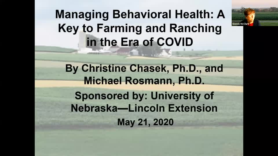 Webinar: Managing Behavioral Health: A Key to Farming and Ranching in the Era of COVID (May 21, 2020)