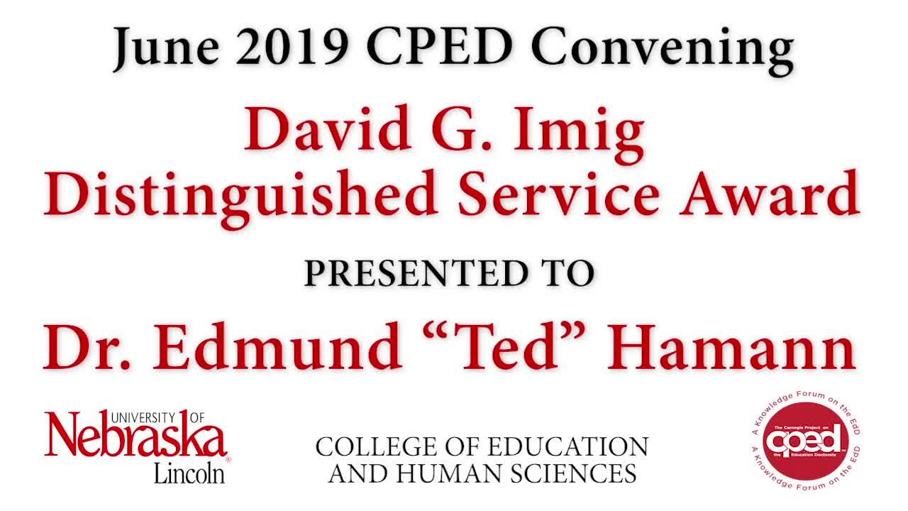 CPED Convening David G. Imig Distinguished Service Award