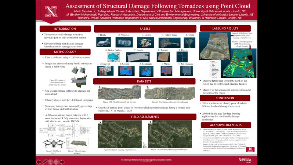 Assessment of Structural Damage Following Tornadoes using Point Cloud