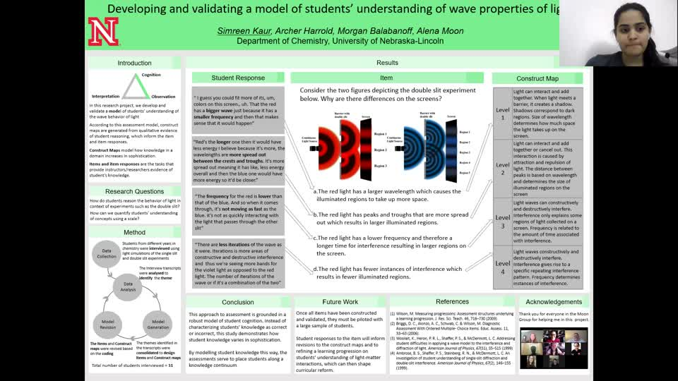 Developing and validating a model of students' understanding of wave properties of light