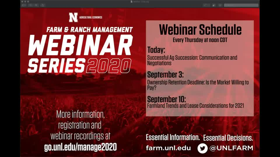 Webinar: Successful Ag Succession: Communications and Negotiation (Aug. 27, 2020)