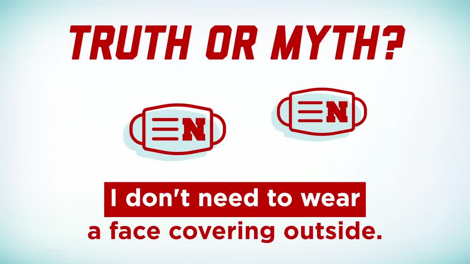 "Husker Health Tips: Truth or Myth: ""I don't need to wear a face covering outside."""