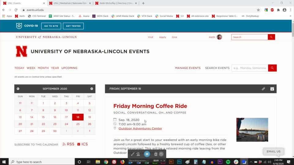 Managing Calendars in UNL Events