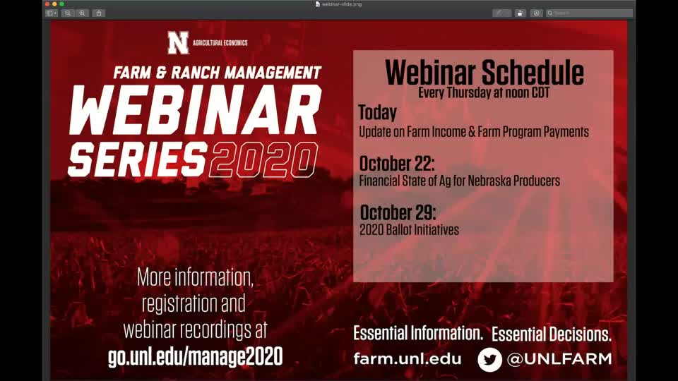Farm Income and Farm Program Payments Update (Oct. 15, 2020 webinar)