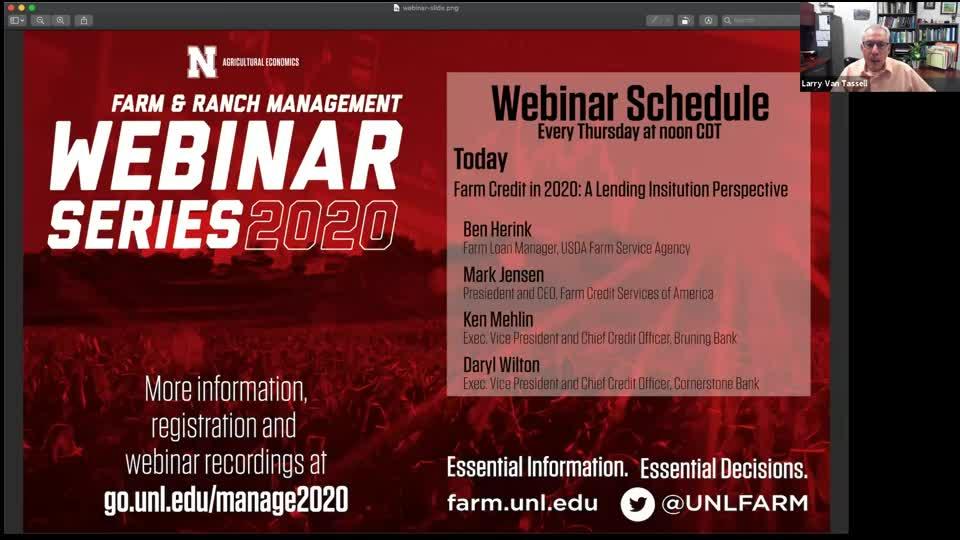 Webinar: Farm Credit in 2020: A Lending Institution Perspective (Nov. 5, 2020)