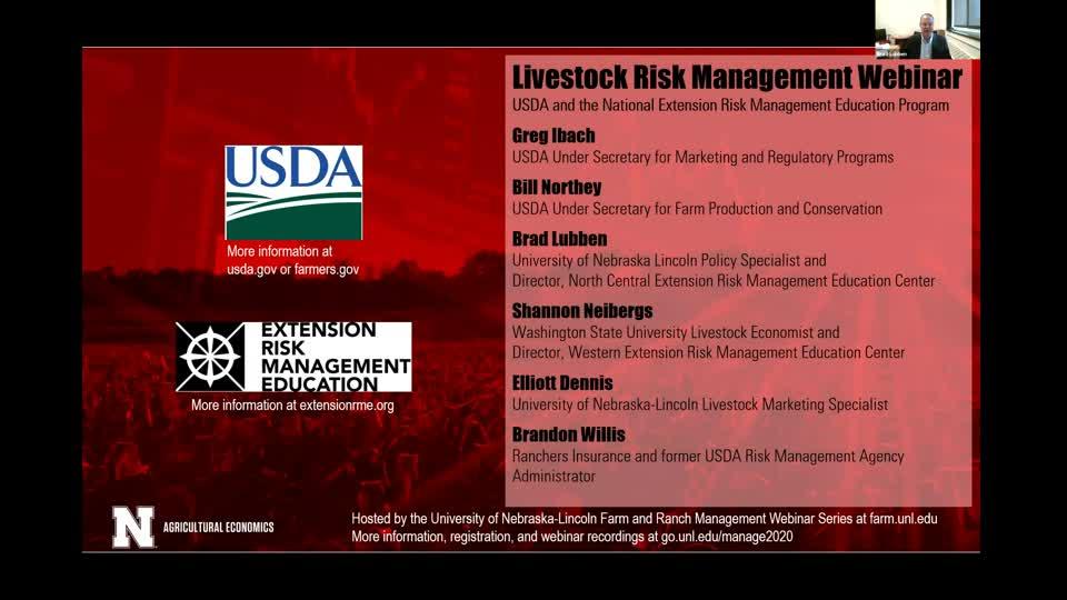 Livestock Risk Management and LRP Updates (With USDA and the national Extension Risk Management Education Program) (Nov. 12, 2020 webinar)