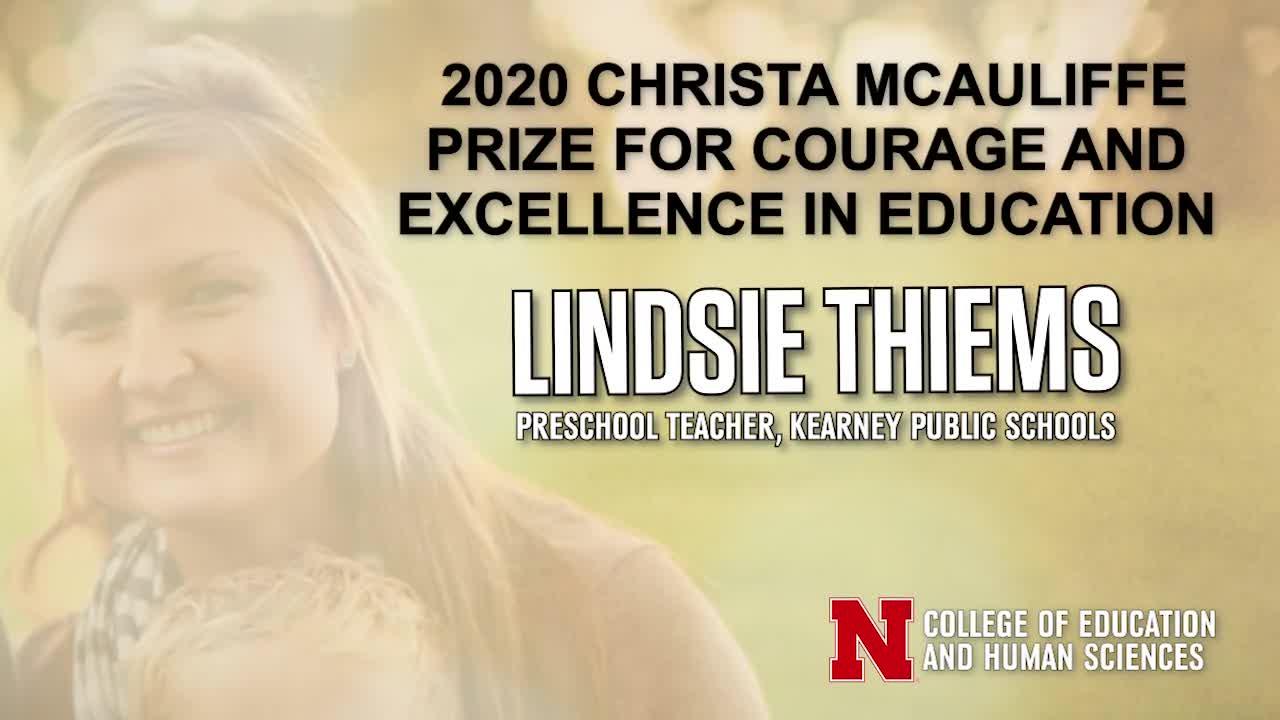 Christa McAuliffe Prize 2020 Winner Lindsie Thiems