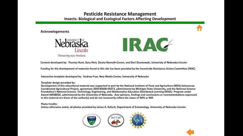 Pesticide Resistance Management - Insects: Biological and Ecological Factors Affecting Development