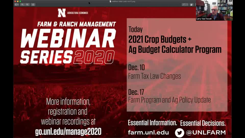 2021 Crop Budgets and the new Agricultural Budget Calculator Program (Dec. 3, 2020 webinar)