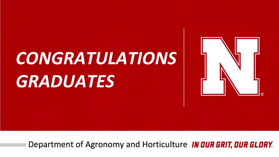 Agronomy and Horticulture Graduation Celebration is December 19, 2020