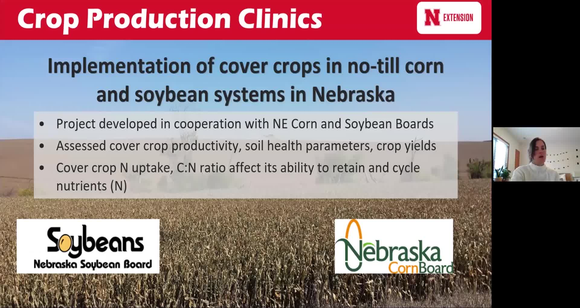 Implementation of cover crops in no-till corn and soybean systems in Nebraska