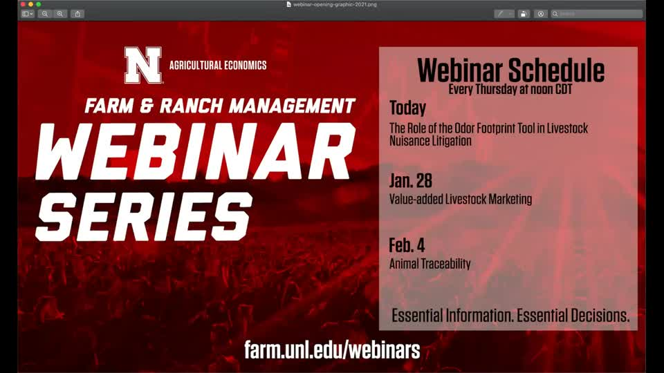 The Role of the Odor Footprint Tool in Livestock Nuisance Litigation (Jan. 21, 2021 Webinar)