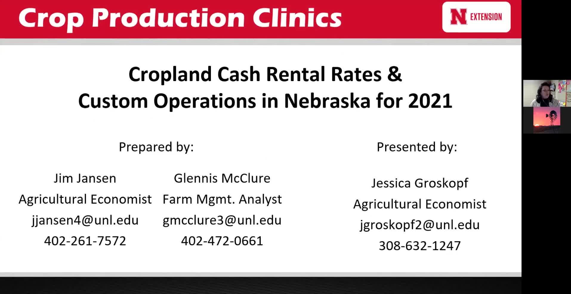 Cropland Cash Rental Rates and Custom Operations in Nebraska for 2021