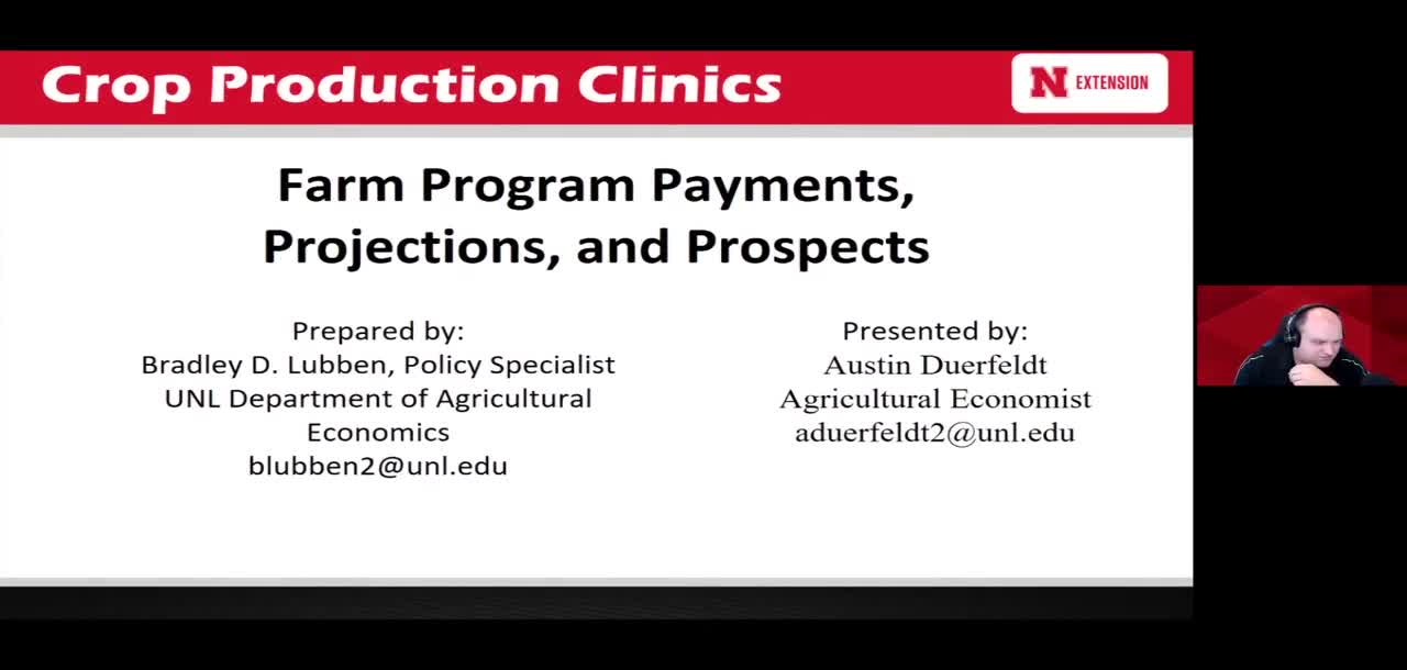 Farm Program Payments, Projections, and Prospects; Cropland Cash Rental Rates and Custom Operations in Nebraska for 2021; Farm Management Decision Aids and Resources
