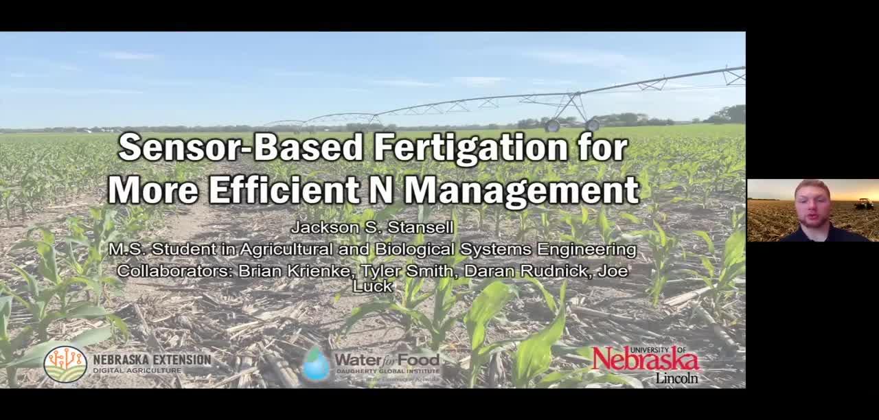 Sensor-based fertigation for more efficient nitrogen management of corn