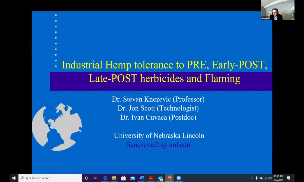 Industrial Hemp Tolerance to 3 Early-Post and Late-Post Herbicides