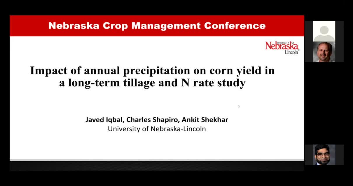 Impacts of annual precipitation on corn yield in a long-term tillage and N rate study