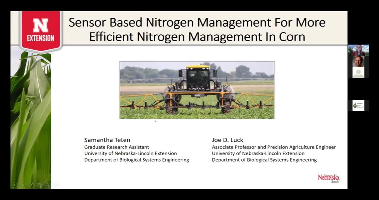 Sensor based nitrogen management for more efficient nitrogen management in corn