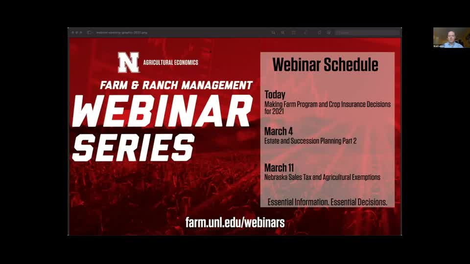 Making Farm Program and Crop Insurance Decisions for 2021 (March 1, 2021 Webinar)