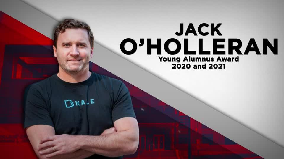 Jack O'Holleran receives the Young Alumnas Award