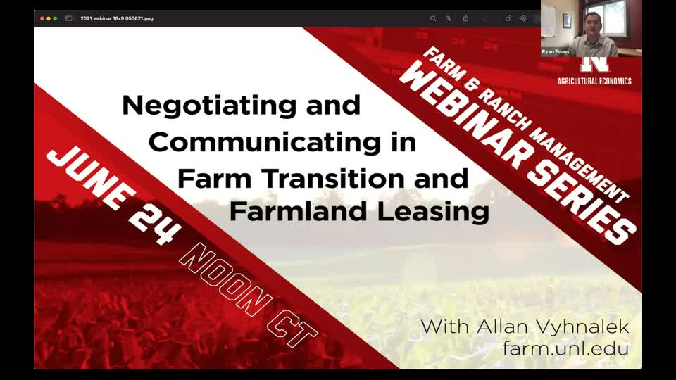 Negotiation and Communications in Farm Transition and Farmland Leasing (June 24, 2021 Webinar)