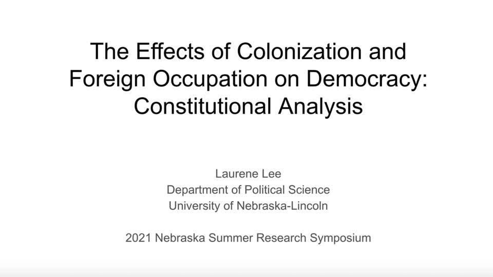The Effects of Colonization and  Foreign Occupation on Democracy: Constitutional Analysis