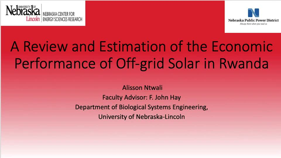 A Review and Estimation of the Economic Performance of Off-grid Solar in Rwanda