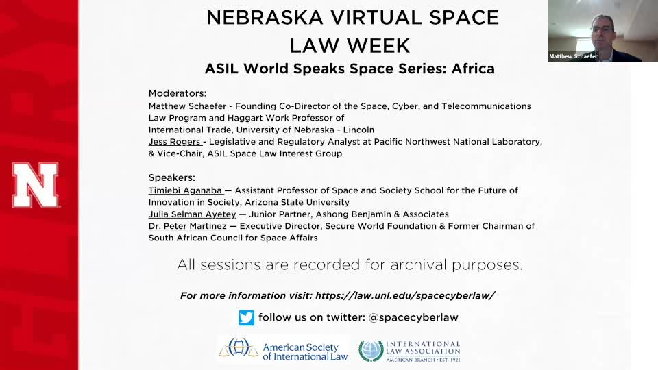 Nebraska Virtual Space Law Week - ASIL World Speaks Space Series: Africa