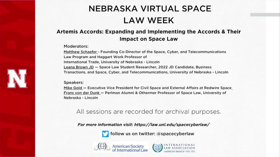 Nebraska Virtual Space Law Week - Artemis Accords: Expanding and Implementing the Accords and Their Impact on Space Law