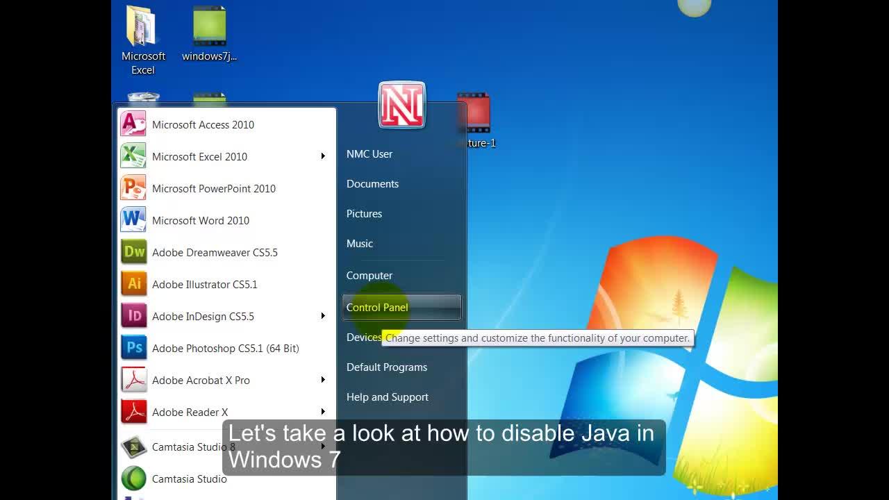 Turning off Java - Windows 7