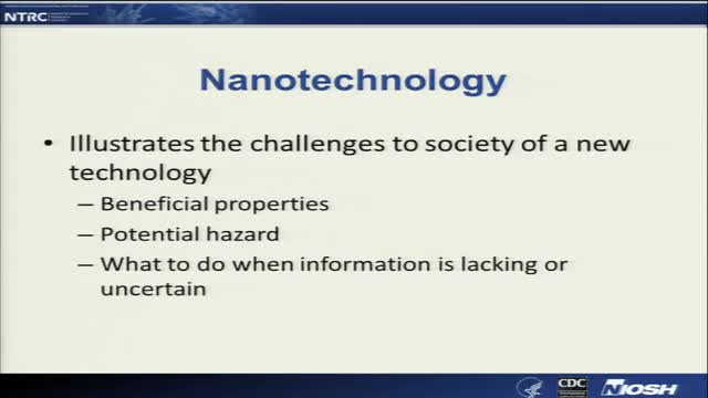 NIOSH Nanomaterials Workshop:  Part 1.  Building a Risk Management Program for Nanomaterials