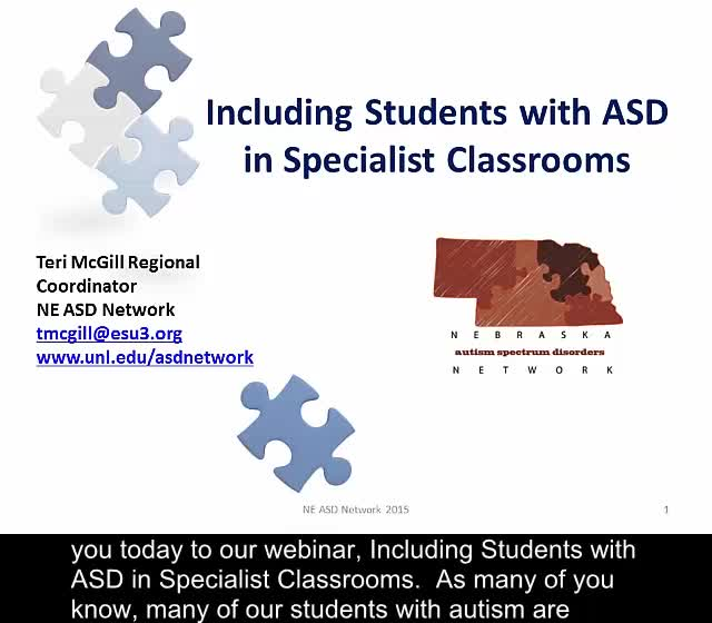 Including Students with ASD In Specialist Classes (Art, PE, Music, Computer, etc.)
