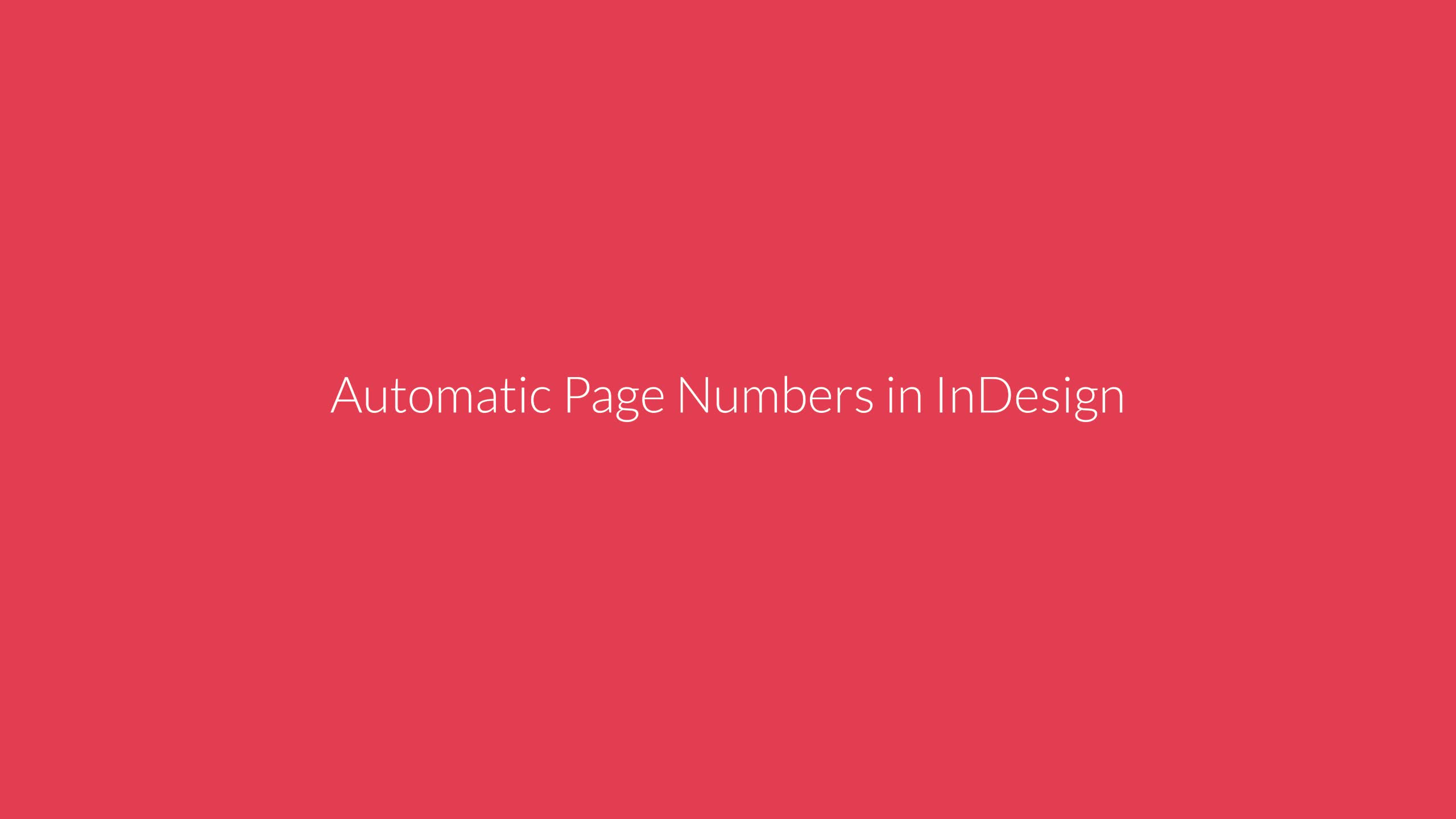 Automatic Page Number in InDesign