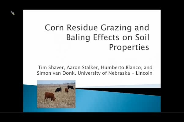 Corn residue grazing and baling effects on soil physical properties