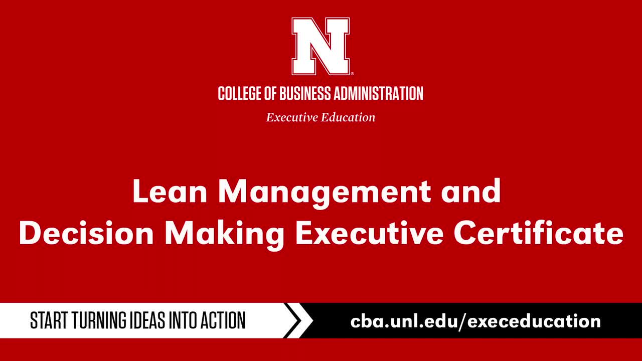 Lean Management and Decision-Making Online Executive Certificate Program