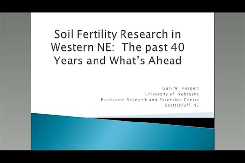 Soil fertility research in western Nebraska — the past 40 years and what's ahead