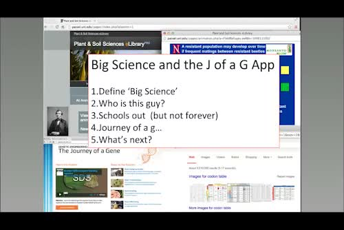 Learning big science -Problem solving in the palm of your hand: The Journey of a Gene App