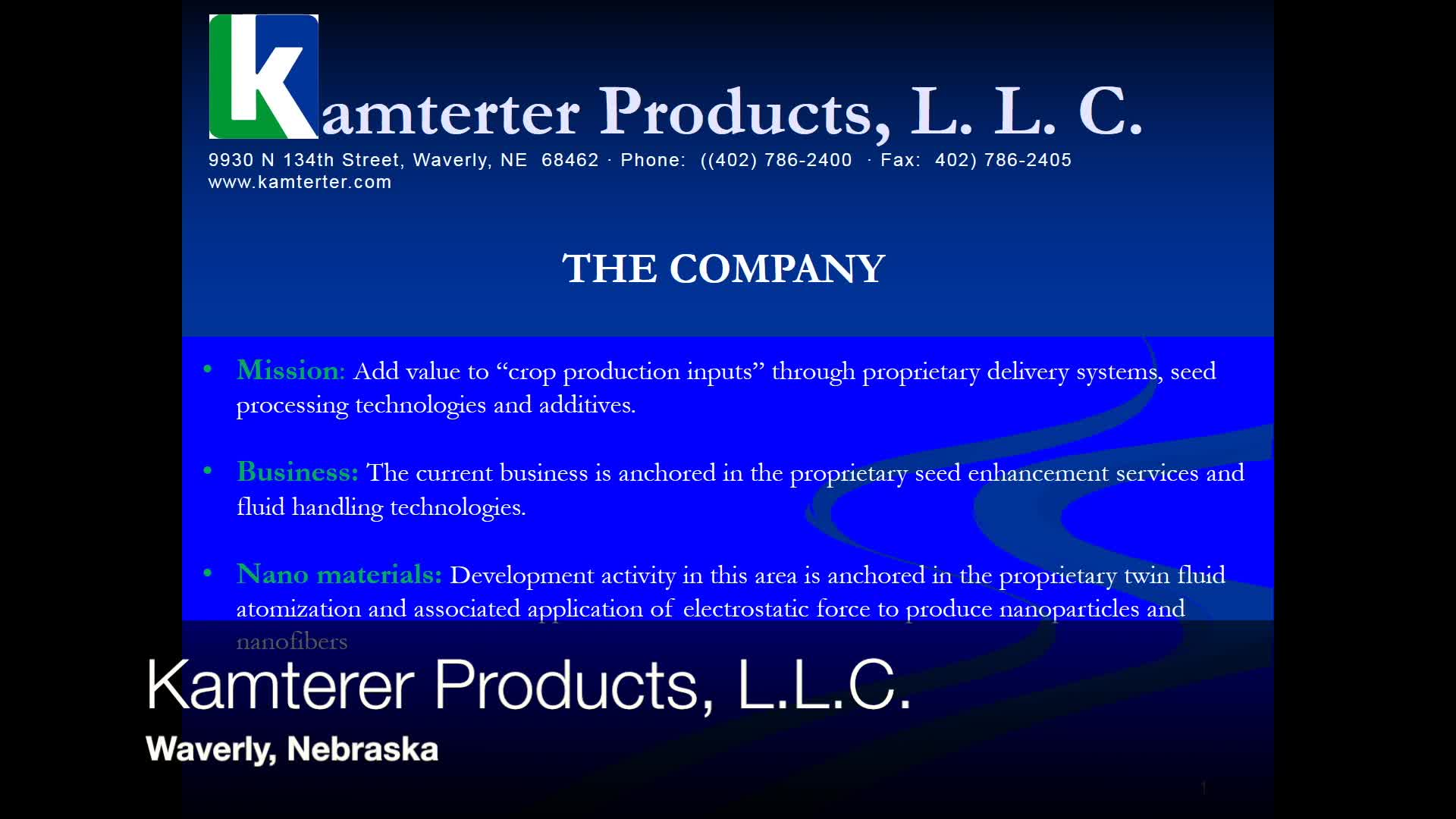 Kamterer Products on Nanotechnology