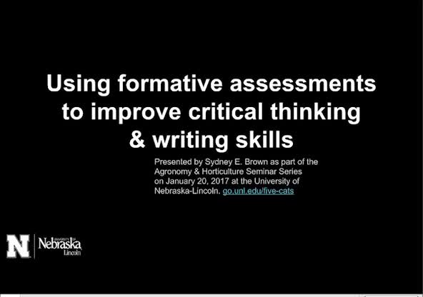 Using formative assessments to improve critical thinking and writing skills